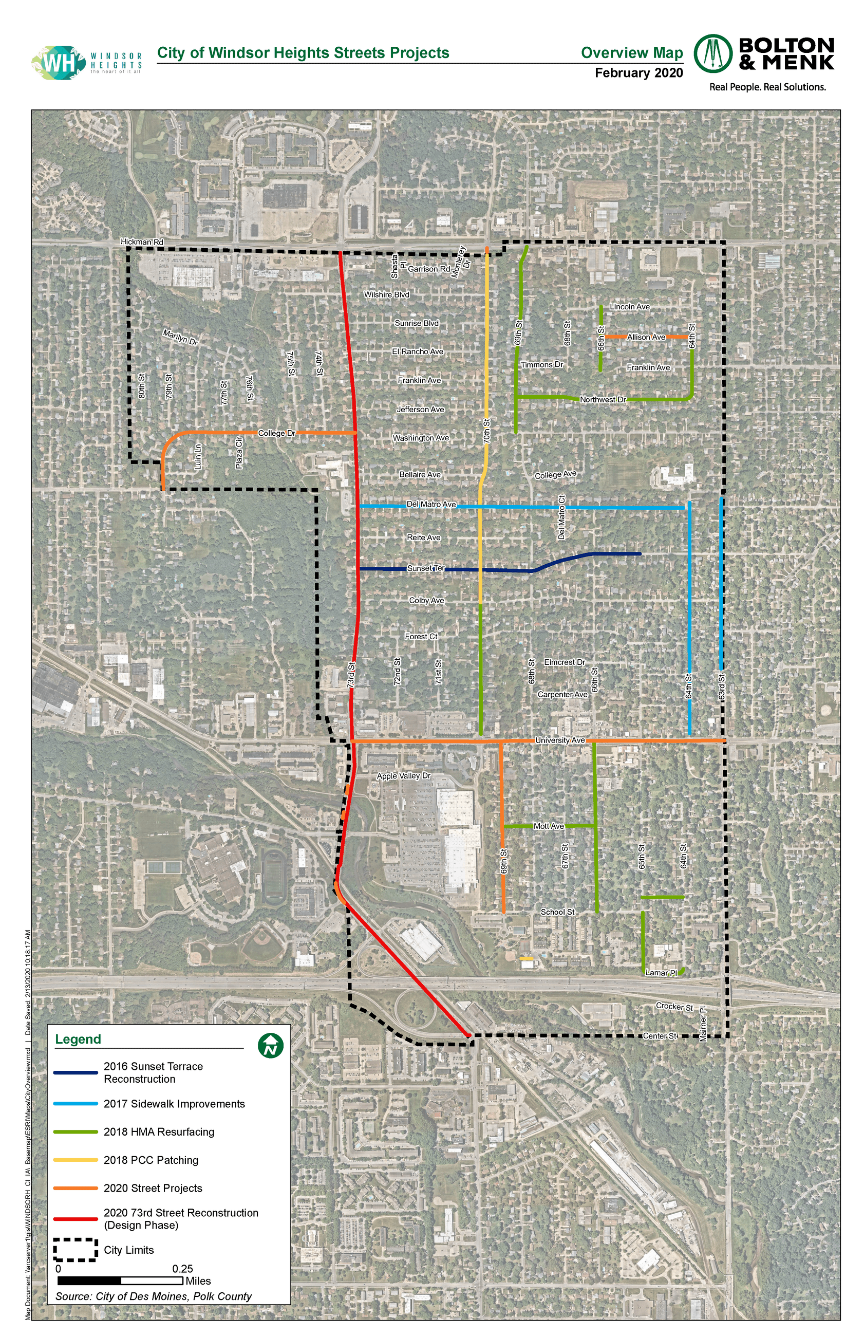 2020 City Overview Projects Map of Windsor Heights