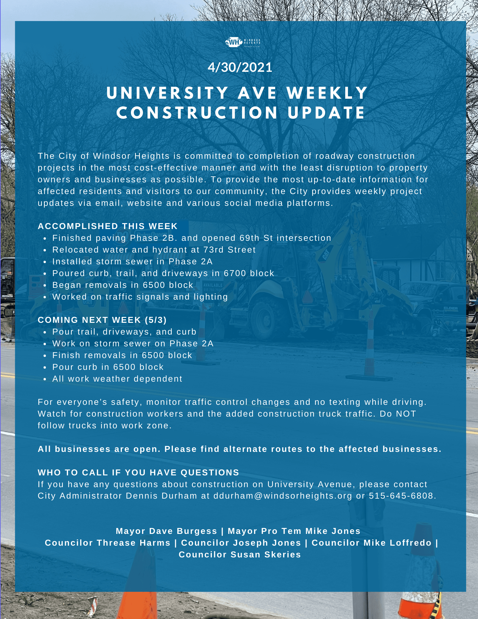 4-30-21 University ave construction update